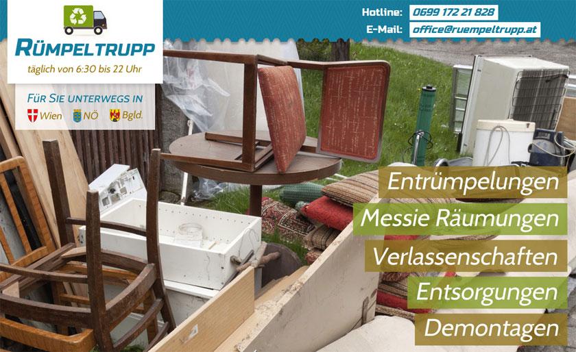 Rümpeltrupp präsentiert sich neu im Internet: Entrümpelungen in Wien, Niederösterreich und im Burgenland