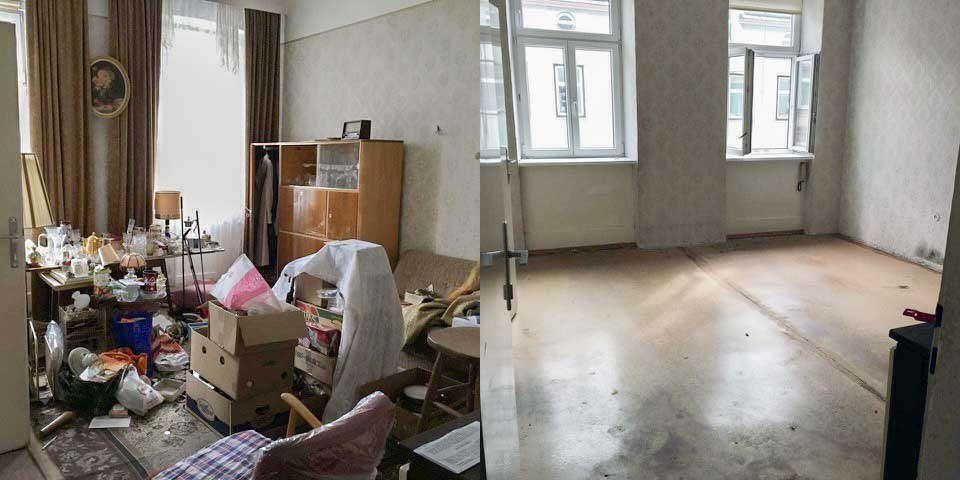 Vorher-Nachher Bild von einer Entrümpelung in Wien