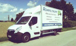 Rümpeltrupp Wagen für Entrümpelungen und Räumungen in und rund um Wien